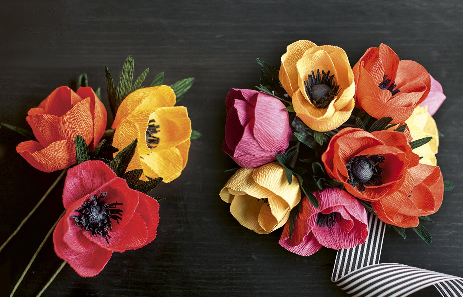DIY papír virág csokor esküvőre