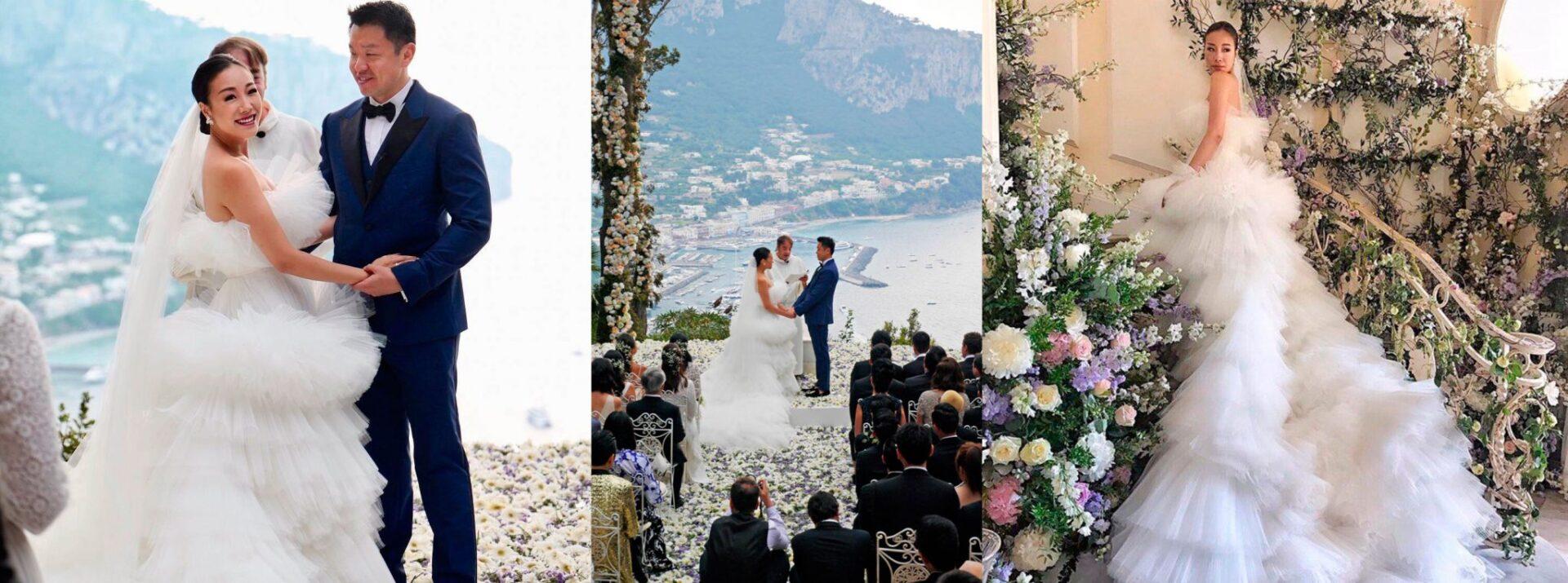 Feiping Chang Giambattista Valli, sztár blogger esküvő, menyasszonyi ruha, esküvői virág dekoráció