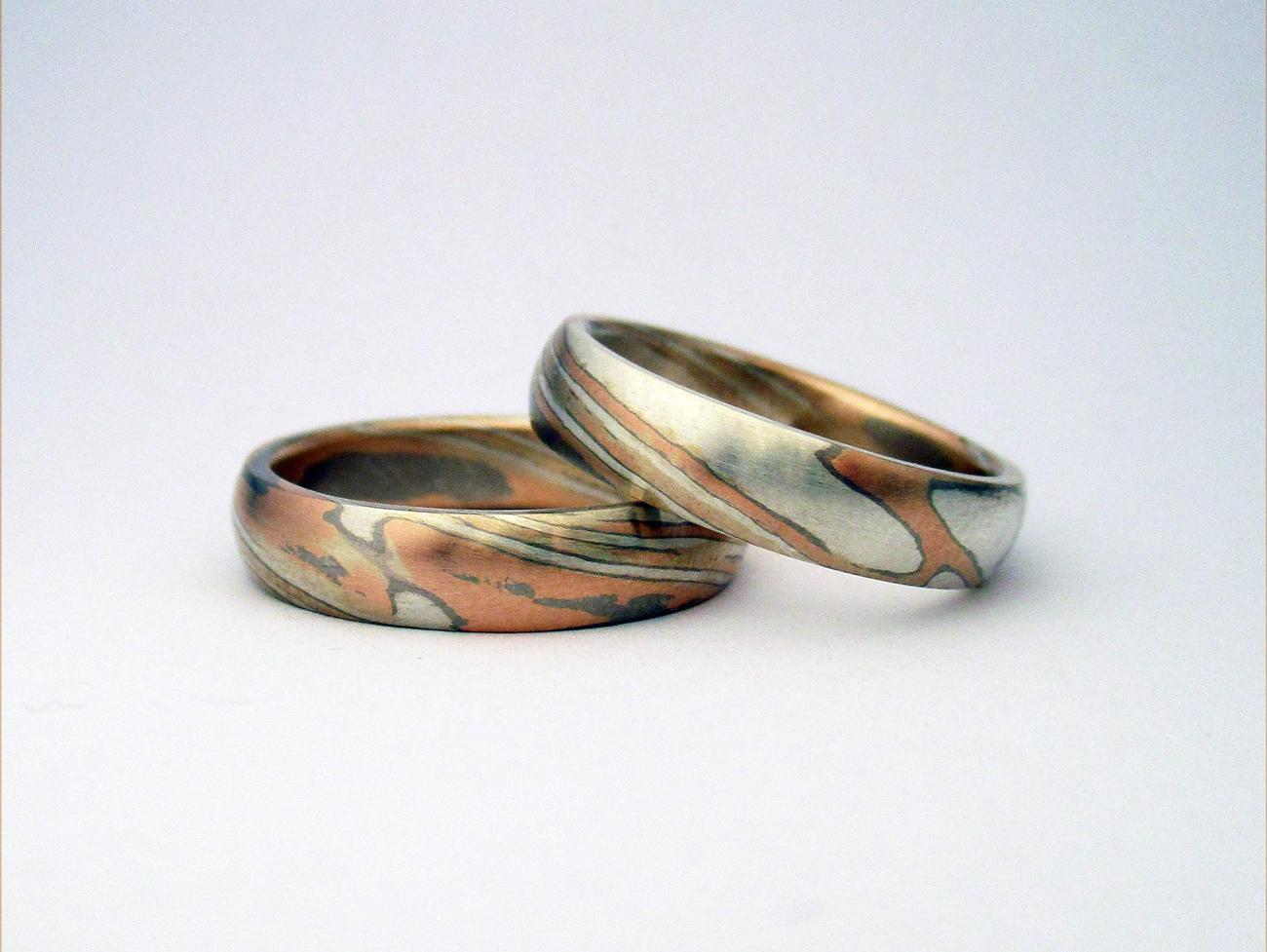 Mokume gyűrű, eljegyzési gyűrű, karikagyűrű, gyűrűpár, japán ékszerek