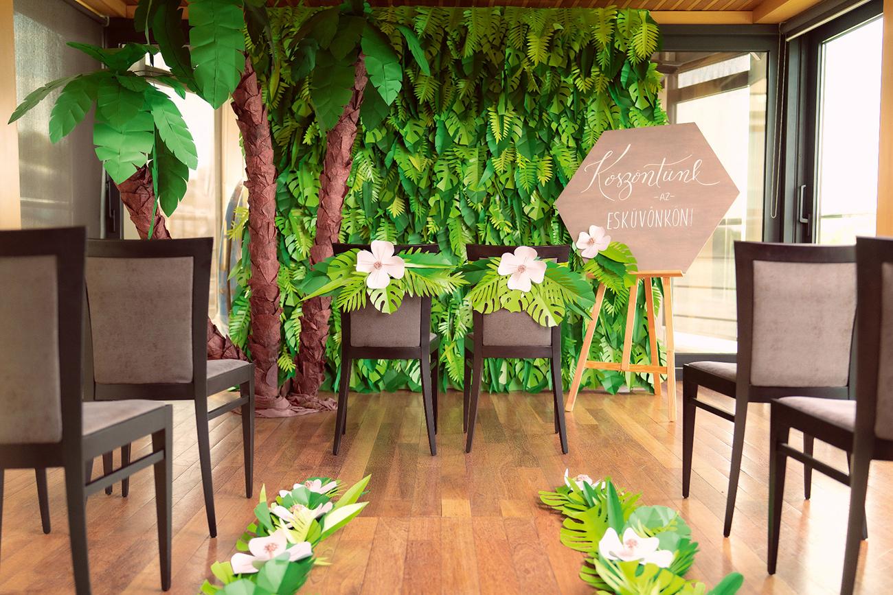 trópusi esküvői dekoráció, Dzsungel a város szívében – Trópusi esküvői dekoráció, amivel megteremtheted a saját őserdődet