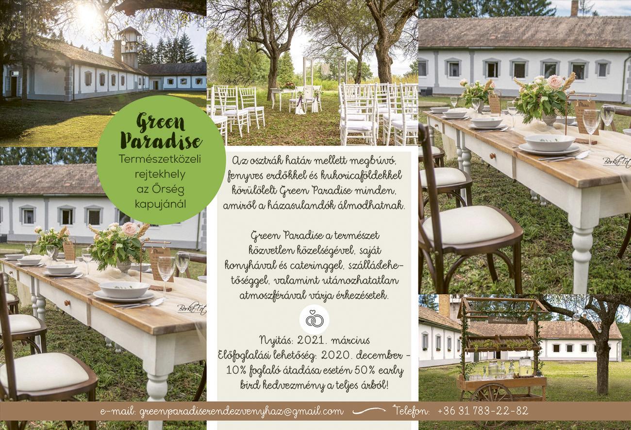 természetközeli esküvő, Varázslatos természetközeli esküvő helyszín az Őrség kapujánál – 2021 tavaszától megnyit a Green Paradise, a nyugalom zöld szigete